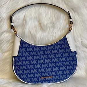 Michael Kors Lillian Signature Denim Shoulder Bag